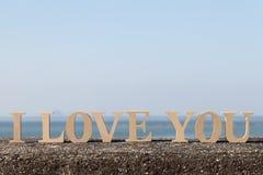 JAG ÄLSKAR DIG gjorde av bokstäver Fotografering för Bildbyråer