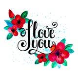 Jag älskar dig - hand-skriftlig bokstäver med röda blommor stock illustrationer