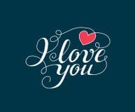 Jag älskar dig handskriven text för inbjudan, reklambladet, hälsningkort Fotografering för Bildbyråer