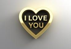 Jag älskar dig i hjärta - guld- kvalitet 3D framför på väggbackgroen Arkivfoton