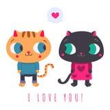 Jag älskar dig illustrationen med gulliga kattpar Arkivfoto