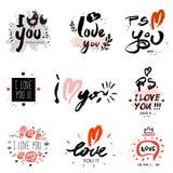 Jag älskar dig, illustrationen och logo stock illustrationer