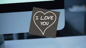 jag älskar dig Inskriften på klistermärken på bildskärmen royaltyfri illustrationer