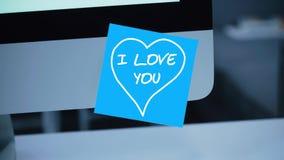 jag älskar dig Inskriften på klistermärken på bildskärmen vektor illustrationer