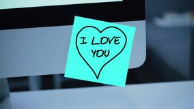 jag älskar dig Inskriften på klistermärken på bildskärmen stock illustrationer
