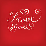 Jag älskar dig kalligrafi på rött Arkivfoton