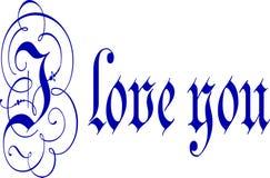 Jag älskar dig kalligrafipennan och färgpulver Arkivfoton