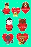 Jag älskar dig klistermärkear och illustrationer för valentindag stock illustrationer