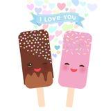 Jag älskar dig kortdesignen med Kawaii choklad och jordgubbeglass, isglass med rosa färgkinder och blinkaögon, pastellfärgade fär Arkivbild