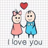 Jag älskar dig, kortet för dagen Februari 14th för valentin` s Tecknad filmvänner pojke och flicka med hjärta Arkivfoton
