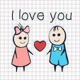 Jag älskar dig, kortet för dagen Februari 14th för valentin` s Tecknad filmvänner pojke och flicka med hjärta Arkivfoto