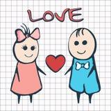 Jag älskar dig, kortet för dagen Februari 14th för valentin` s Tecknad filmvänner pojke och flicka med hjärta Royaltyfria Foton