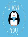 Jag älskar dig kortet för lycklig valentindag Hållande hjärta för gullig pingvin Hand drog ord Royaltyfria Foton