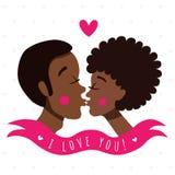 Jag älskar dig kortet med kyssande par (afrikanska amerikaner) vektor illustrationer