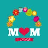 Jag älskar dig mammakortet vektor illustrationer