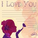 Jag älskar dig med flickan stock illustrationer