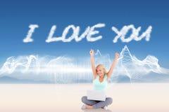 Jag älskar dig mot energidesign över landskap Fotografering för Bildbyråer