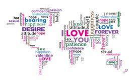 Jag älskar dig ordet för värld Royaltyfria Bilder