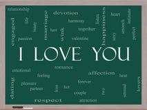 Jag älskar dig ordmolnbegreppet på en svart tavla Fotografering för Bildbyråer