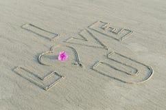 Jag älskar dig på sand royaltyfri fotografi