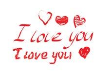 Jag älskar dig röd text och hjärtor Royaltyfri Bild