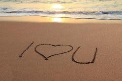 Jag älskar dig stranden Royaltyfri Foto