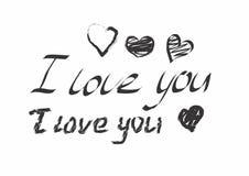 Jag älskar dig svart text och hjärtor Royaltyfri Bild