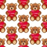 Jag älskar dig Teddy Bear Seamless Pattern Royaltyfri Bild