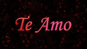 Jag älskar dig text i portugisiska och spanska Te Amo på mörk bakgrund Royaltyfri Foto