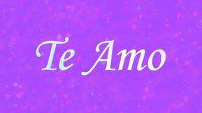 Jag älskar dig text i portugisiska och spanska Te Amo på purpurfärgad bakgrund Royaltyfria Foton