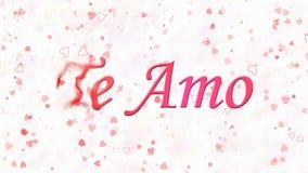 Jag älskar dig text i portugisiska och spanska Te Amo vänd för att damma av från vänstert på vit bakgrund Royaltyfri Foto