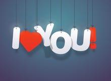 Jag älskar dig text med hjärtor Royaltyfri Bild