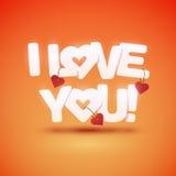 Jag älskar dig text med hjärtor Royaltyfria Foton