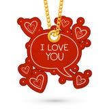 Jag älskar dig text och hjärtor Arkivfoto