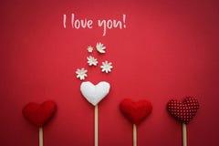 Jag älskar dig text på kanfas Royaltyfri Foto