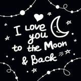 Jag älskar dig till månen och den tillbaka bokstäverbakgrunden Arkivbild
