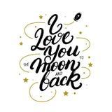 Jag älskar dig till månen och drar tillbaka den skriftliga bokstäveraffischen för handen royaltyfri fotografi