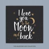 Jag älskar dig till månen och drar tillbaka - romantisk vektortypografi Arkivfoton