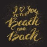 Jag älskar dig till stranden och drar tillbaka - romantiskt sandigt citationstecken Royaltyfri Foto