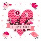 Jag älskar dig vektorkortet (bakgrund) i ljust, och den mörk rosa färgen och brunt färgar med fåglar och hjärta vektor illustrationer