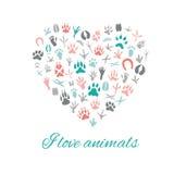 Jag älskar djur, hjärta Royaltyfria Foton
