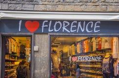 Jag älskar Florence shoppar i centret - FLORENCE/ITALIEN - SEPTEMBER 12, 2017 Arkivbilder