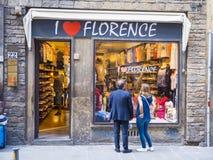 Jag älskar Florence shoppar i centret - FLORENCE/ITALIEN - SEPTEMBER 12, 2017 Royaltyfria Foton