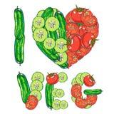 jag älskar grönsaker Royaltyfri Fotografi