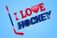 Jag älskar hockeyvektoraffischen Ishockeydesign Illustration för vintersport med pinnar, pucken, förälskelsehjärta och text Enkel stock illustrationer