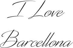 Jag älskar illustrationen för det Barcellona texttecknet Fotografering för Bildbyråer
