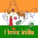 Jag älskar Indien Abstrakt översikt av Indien med några indiska simbols Fotografering för Bildbyråer