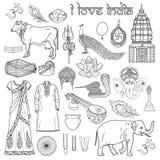 Jag älskar Indien Uppsättning av indierobjekt och symbolet Om som är användbar för Co stock illustrationer