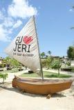 Jag älskar Jericoacoara Eu Amo Jeri Message Sailboat royaltyfri foto