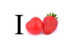 Jag älskar jordgubbar Arkivfoton